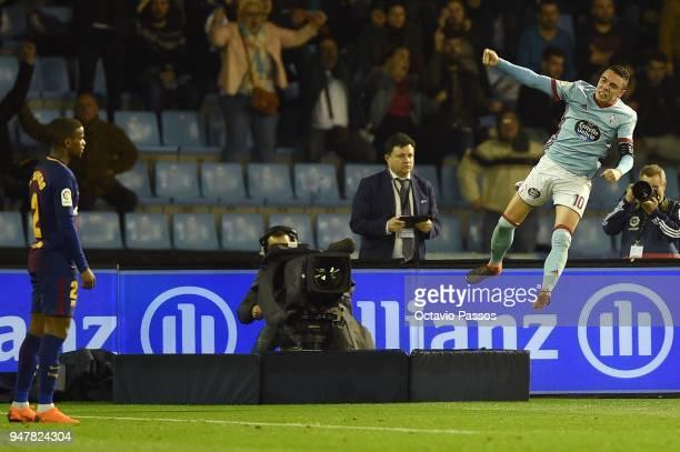 Iago Aspas of Celta de Vigo celebrates after scoring the second goal during the La Liga match between Celta de Vigo and Barcelona at Municipal...
