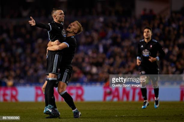 Iago Aspas of Celta de Vigo celebrates with his team-mates after scoring his team's third goal during the La Liga match between Deportivo La Coruna...