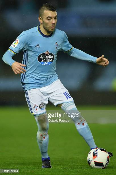 Iago Aspas of Celta de Vigo in action during the Copa del Rey semifinal first leg match between Real Club Celta de Vigo and Deportivo Alaves at...