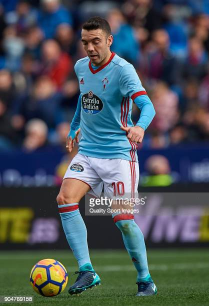 Iago Aspas of Celta de Vigo in action during the La Liga match between Levante and Celta de Vigo at Ciutat de Valencia stadium on January 14 2018 in...