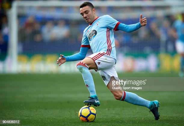 Iago Aspas of Celta de Vigo in action during the La Liga match between Levante and Celta de Vigo at Ciutat de Valencia on January 14 2018 in Valencia...