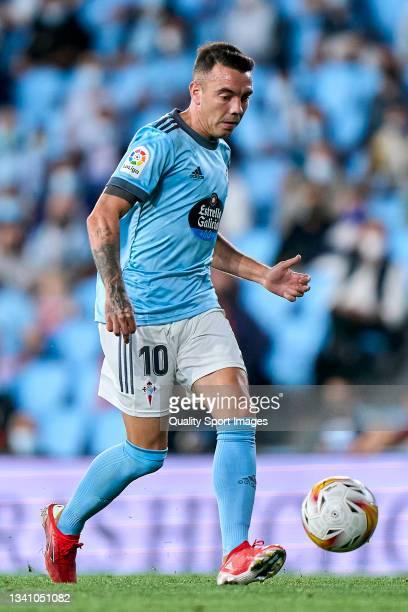 Iago Aspas of Celta de Vigo in action during the La Liga Santander match between RC Celta de Vigo and Cadiz CF at Abanca Balaidos Stadium on...