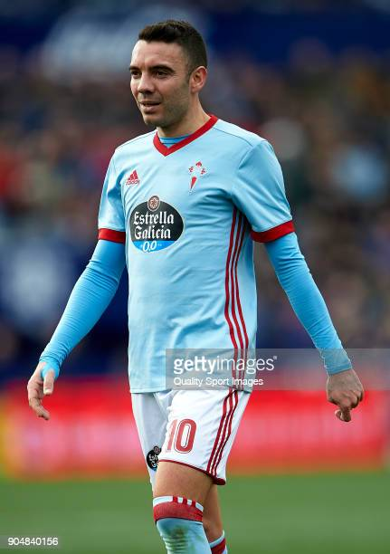 Iago Aspas of Celta de Vigo looks on during the La Liga match between Levante and Celta de Vigo at Ciutat de Valencia on January 14 2018 in Valencia...