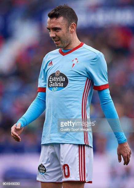 Iago Aspas of Celta de Vigo looks on during the La Liga match between Levante and Celta de Vigo at Ciutat de Valencia stadium on January 14 2018 in...