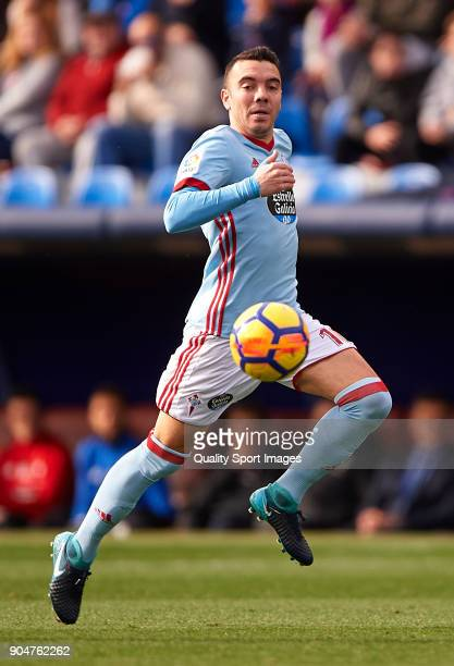 Iago Aspas of Celta de Vigo runs with the ball during the La Liga match between Levante and Celta de Vigo at Ciutat de Valencia on January 14 2018 in...