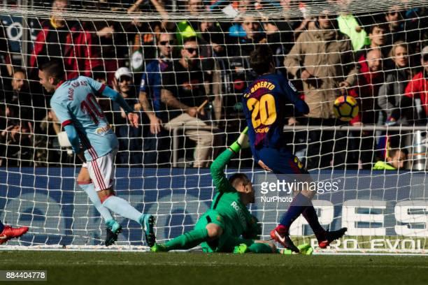 Iago Aspas of Celta de Vigo scoring the first goal of the match during the La Liga match between FC Barcelona v Celta de Vigo at Camp Nou Stadium on...