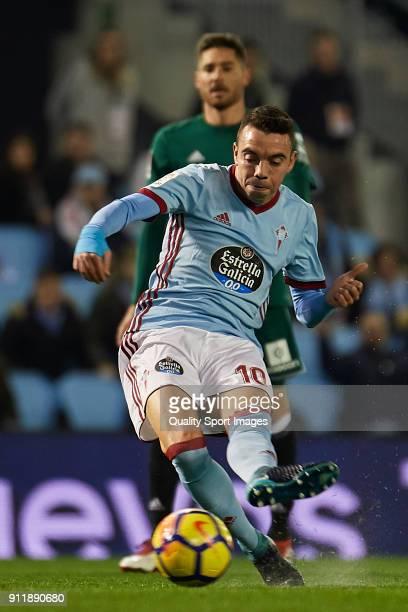Iago Aspas of Celta de Vigo shoots at goal to score the opening goal during the La Liga match between Celta de Vigo and Real Betis at Balaidos...