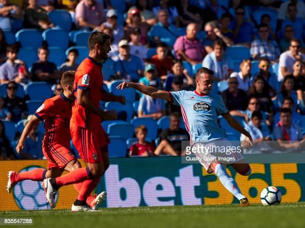 Iago Aspas of Celta de Vigo shots on goal during the La Liga match between Celta de Vigo and Real Sociedad at Balaidos Stadium on August 19 2017 in...