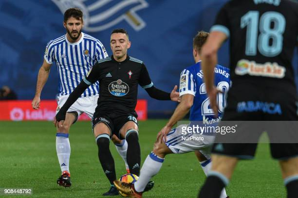 Iago Aspas of Celta during the Spanish league football match between Real Sociedad and Celta at the Anoeta Stadium on 21 January 2018 in San...
