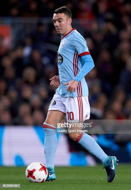 Iago Aspas of Celta in action during the Copa del Rey Round of 16 second Leg match between Barcelona and Celta de Vigo at Camp Nou on January 11 2018...
