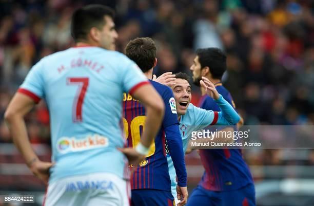 Iago Aspas of Celta reacts during the La Liga match between Barcelona and Celta de Vigo at Camp Nou on December 2 2017 in Barcelona Spain
