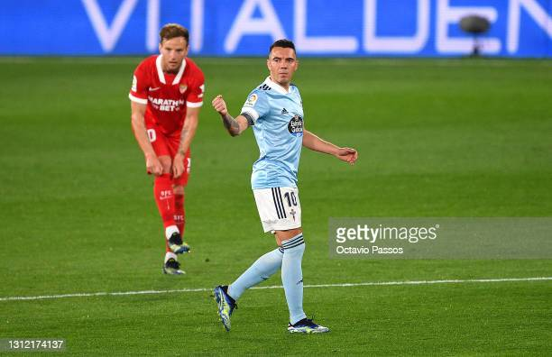 Iago Aspas of Celta Vigo celebrates after scoring their sides first goal during the La Liga Santander match between RC Celta and Sevilla FC at...