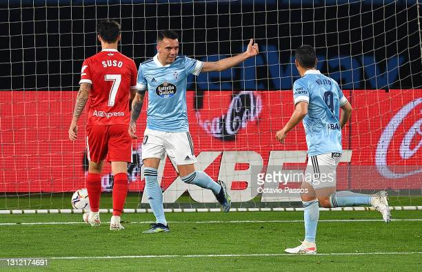 Iago Aspas of Celta Vigo celebrates after scoring their sides first goal with team mate Nolito during the La Liga Santander match between RC Celta...