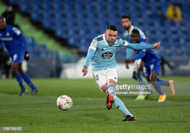 Iago Aspas of Celta Vigo scores their sides first goal from the penalty spot during the La Liga Santander match between Getafe CF and RC Celta at...
