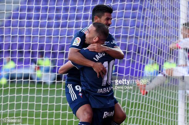 Iago Aspas of RC Celta celebrates after scoring his sides first goal with teammate Nolito during the La Liga Santander match between Real Valladolid...