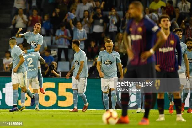 Iago Aspas of RC Celta celebrates after scoring the second goal during the La Liga match between RC Celta de Vigo and FC Barcelona at AbancaBalaidos...