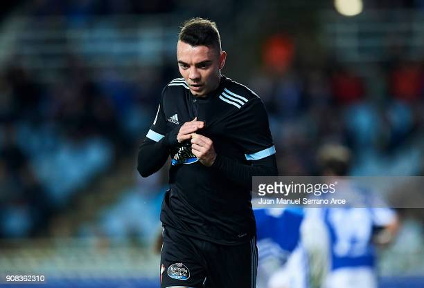 Iago Aspas of RC Celta de Vigo celebrates after scoring goal during the La Liga match between Real Sociedad de Futbol and RC Celta de Vigo at Estadio...