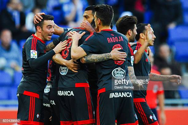 Iago Aspas of RC Celta de Vigo celebrates with his team mates after scoring the opening goal during the La Liga match between Real CD Espanyol and...