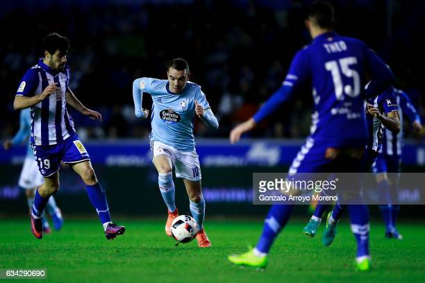 Iago Aspas of RC Celta de Vigo competes for the ball with Manuel Garcia Sanchez of Deportivo Alaves during the Copa del Rey semifinal second leg...