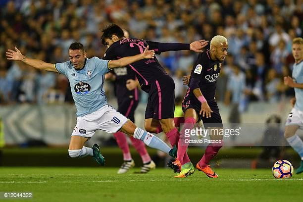 Iago Aspas of RC Celta de Vigo competes for the ball with Neymar Jr of FC Barcelona during the La Liga match between Real Club Celta de Vigo and...