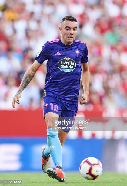 Iago Aspas of RC Celta de Vigo in action during the La Liga match between Sevilla FC and RC Celta de Vigo at Estadio Ramon Sanchez Pizjuan on October...