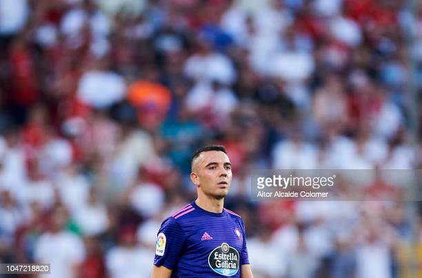 Iago Aspas of RC Celta de Vigo reacts during the La Liga match between Sevilla FC and RC Celta de Vigo at Estadio Ramon Sanchez Pizjuan on October 7...