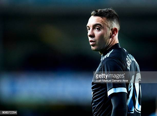 Iago Aspas of RC Celta de Vigo reacts during the La Liga match between Real Sociedad de Futbol and RC Celta de Vigo at Estadio Anoeta on January 21...