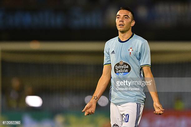 Iago Aspas of RC Celta de Vigo reacts during the match against FC Barcelona during the La Liga match between Real Club Celta de Vigo and Futbol Club...