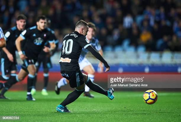 Iago Aspas of RC Celta de Vigo scoring goal during the La Liga match between Real Sociedad de Futbol and RC Celta de Vigo at Estadio Anoeta on...