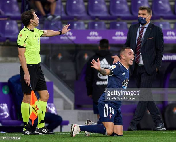Iago Aspas of RC Celta reacts during the La Liga Santander match between Real Valladolid CF and RC Celta at Estadio Municipal Jose Zorrilla on...