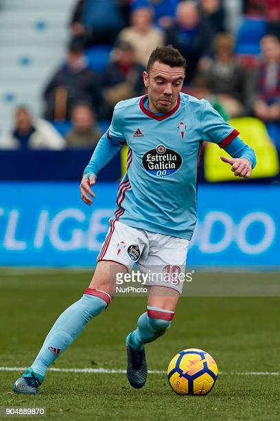 Iago Aspas of Real Club Celta de Vigo with the ball during the La Liga game between Levante UD and Real Club Celta de Vigo at Ciutat de Valencia...