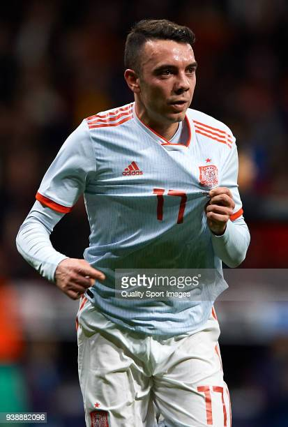 Iago Aspas of Spain celebrates after scoring his sides fith goal during the international friendly match between Spain and Argentina at Wanda...