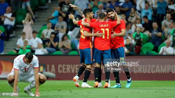 Iago Aspas of Spain celebrates after scoring his team`s first goal with team mates during the friendly match between Spain and Tunisia at Krasnodar's...