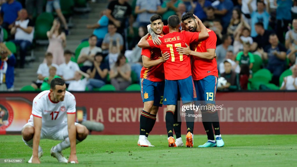 Iago Aspas of Spain celebrates after scoring his team`s first goal with team mates during the friendly match between Spain and Tunisia at Krasnodar's stadium on June 9, 2018 in Krasnodar, Russia.