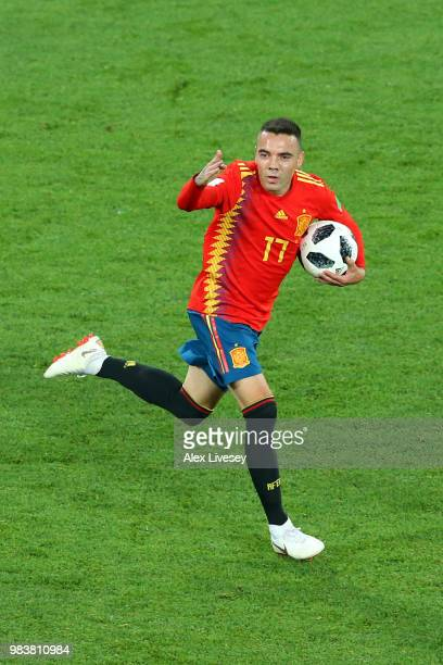 Iago Aspas of Spain celebrates after scoring his team's second goal during the 2018 FIFA World Cup Russia group B match between Spain and Morocco at...
