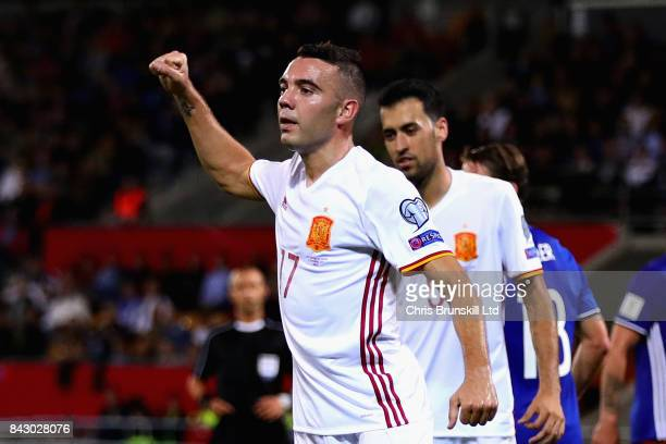 Iago Aspas of Spain celebrates scoring his sides seventh goal during the FIFA 2018 World Cup Qualifier between Liechtenstein and Spain at Rheinpark...