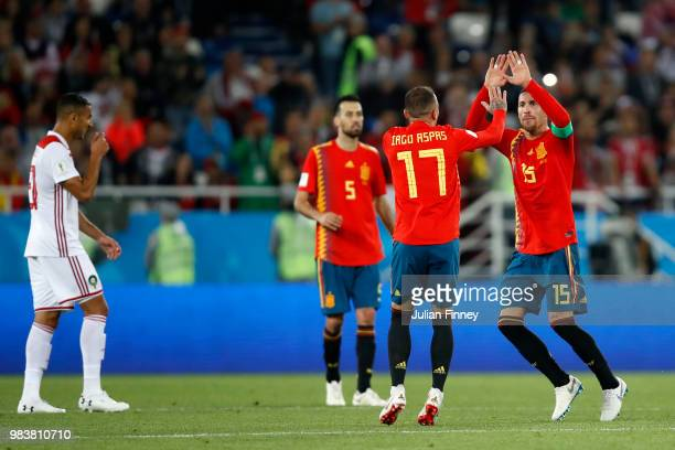 Iago Aspas of Spain celebrates with teammate Sergio Ramos after scoring his team's second goal during the 2018 FIFA World Cup Russia group B match...