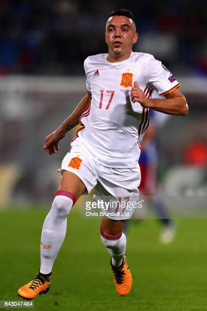 Iago Aspas of Spain in action during the FIFA 2018 World Cup Qualifier between Liechtenstein and Spain at Rheinpark Stadion on September 5 2017 in...