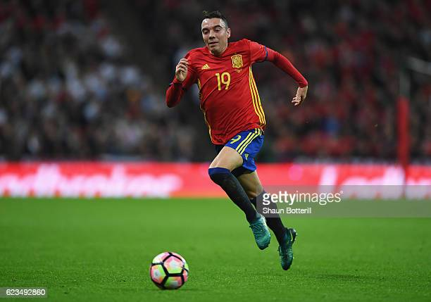 Iago Aspas of Spain in action during the international friendly match between England and Spain at Wembley Stadium on November 15 2016 in London...
