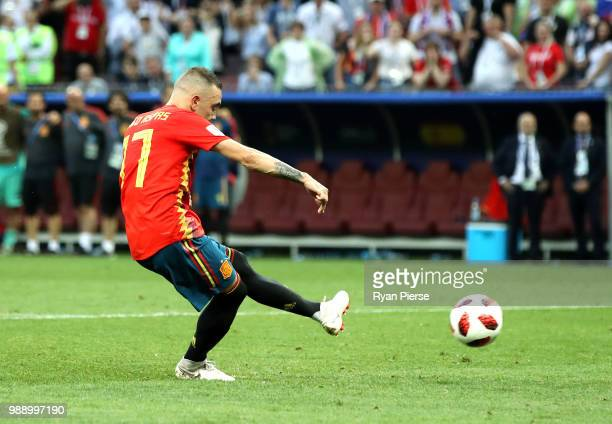 Iago Aspas of Spain misses his team's fifth penalty in the penalty shoot out during the 2018 FIFA World Cup Russia Round of 16 match between Spain...