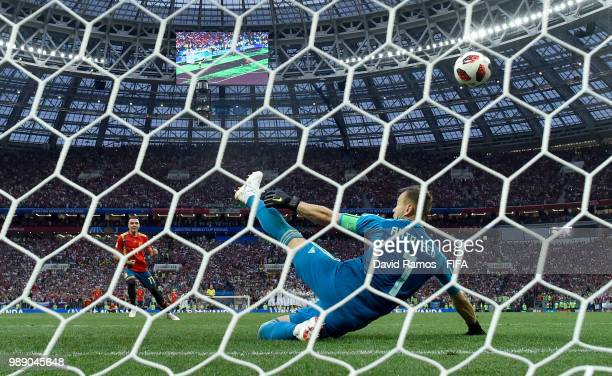 Iago Aspas of Spain misses his team's fifth penalty saved by Igor Akinfeev of Russia in the penalty shoot out during the 2018 FIFA World Cup Russia...