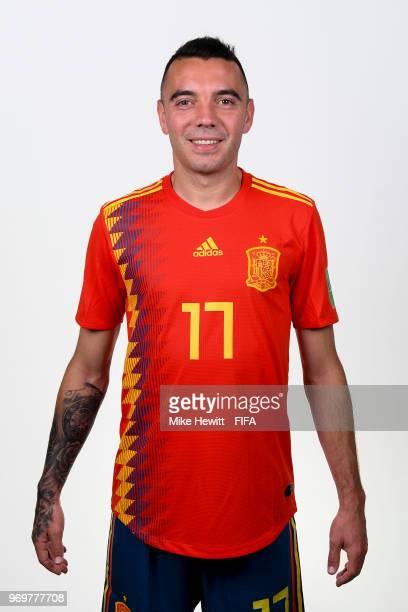 Iago Aspas of Spain poses for a portrait during the official FIFA World Cup 2018 portrait session at FC Krasnodar Academy on June 8 2018 in Krasnodar...