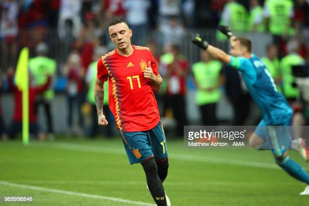 Iago Aspas of Spain reacts after his penalty is saved by Igor Akinfeev of Russia in a shootout during the 2018 FIFA World Cup Russia Round of 16...