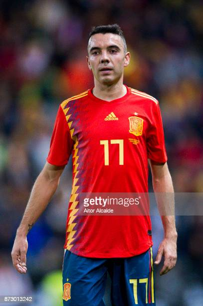 Iago Aspas of Spain reacts during the international friendly match between Spain and Costa Rica at La Rosaleda Stadium on November 11 2017 in Malaga...