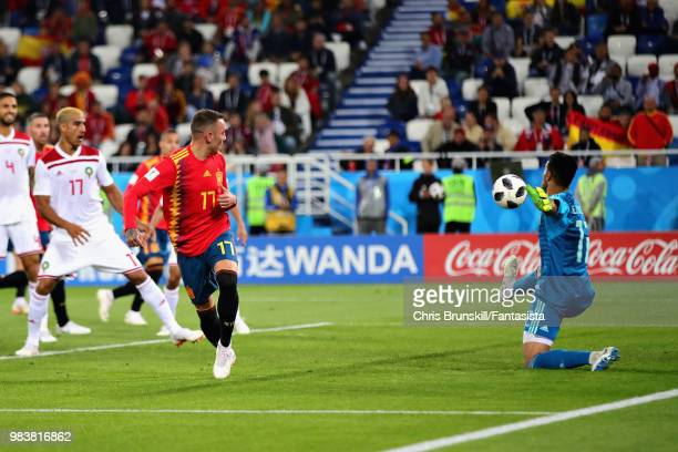 Iago Aspas of Spain scores his sides second goal during the 2018 FIFA World Cup Russia group B match between Spain and Morocco at Kaliningrad Stadium...