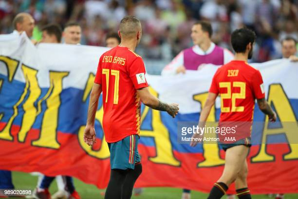Iago Aspas of Spain walks off after his team were eliminated during a penalty shootout during the 2018 FIFA World Cup Russia Round of 16 match...