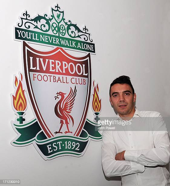 Iago Aspas Signs For Liverpool FC at Melwood on June 23 2013 in Liverpool England