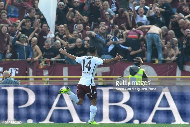 Iago Falqu of Torino FC celebrates after scoring the opening goal during the Serie A match between Bologna FC and Torino FC at Stadio Renato Dall'Ara...