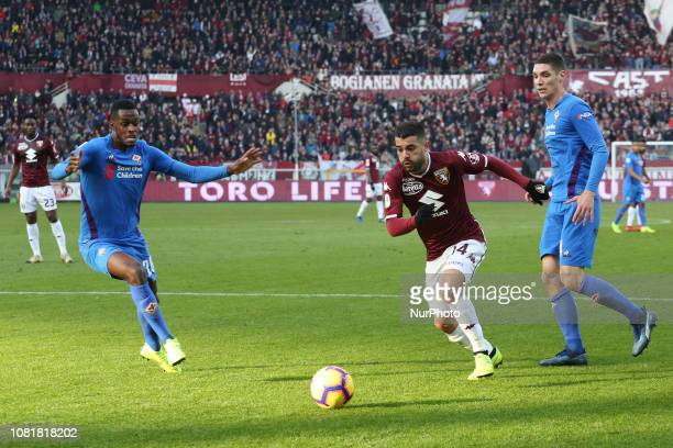Iago Falque during the Tim Cup football match between Torino FC and ACF Fiorentina at Olympic Grande Torino Stadium on January 13, 2019 in Turin,...