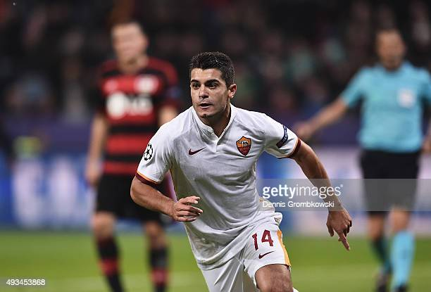 Iago Falque of AS Roma celebrates as he scores their fourth goal during the UEFA Champions League Group E match between Bayer 04 Leverkusen and AS...
